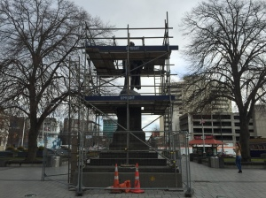 Scaffolded statue in Cathedral Square