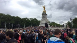 Just a few people turning out to see the spectacle.