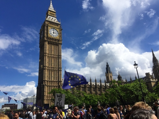 Big Ben providing a dramatic backdrop for the peaceful protests occurring at his feet.