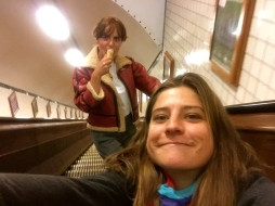 Wooden escalator