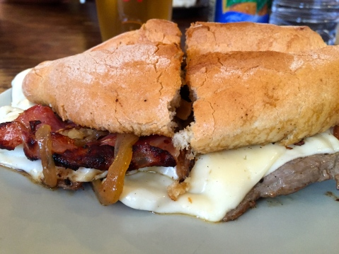 This... this here is the famed steak sandwich. My mouth is watering just typing about it.