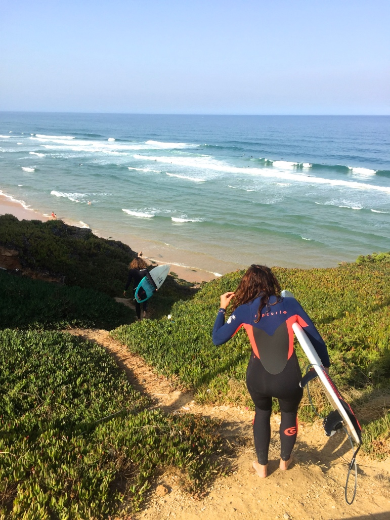 Vanessa and I heading down for a surf.